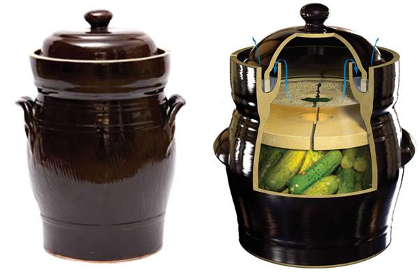 Olla de barro para hacer encurtidos fermentados
