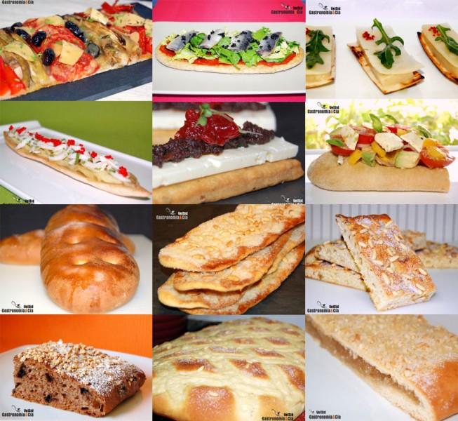 Cocas de panadería, dulces y saladas
