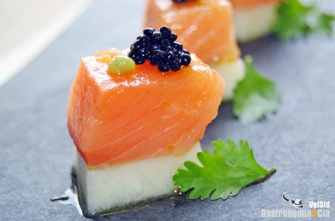 Aperitivo de salmón con melón