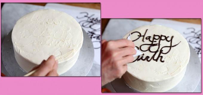 Escribir la felicitación en una tarta