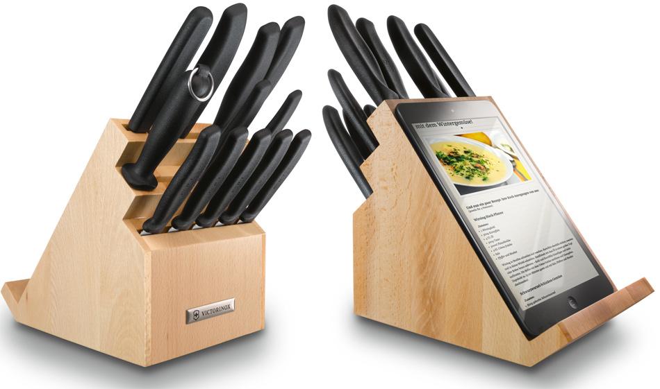 Bloque de cuchillos con soporte para tablet gastronom a for Soporte utensilios cocina