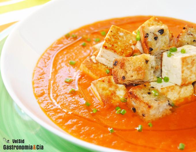 Sopa con tofu