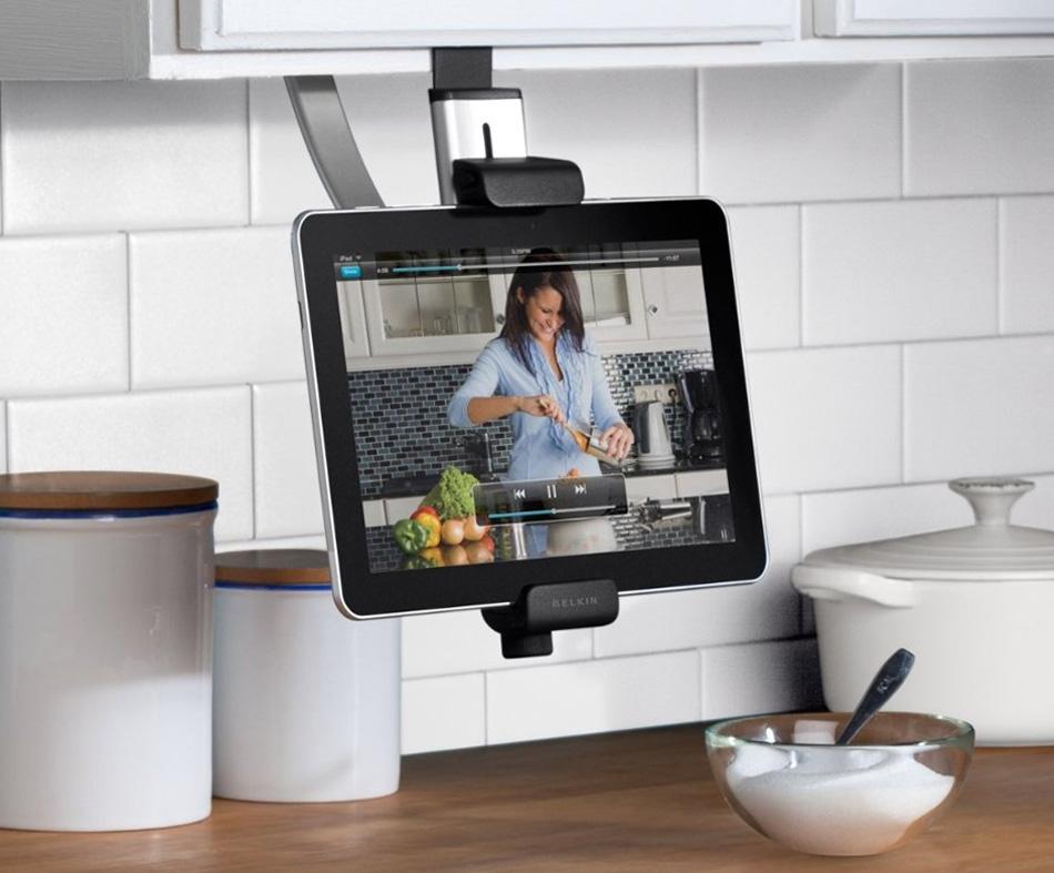 Soporte de tableta para muebles de cocina for Soporte utensilios cocina