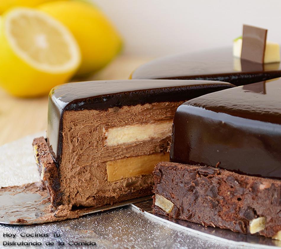 Hoy Cocinas Tú: Tarta de mousse de chocolate, crema de limón y toffee gelificado de regaliz