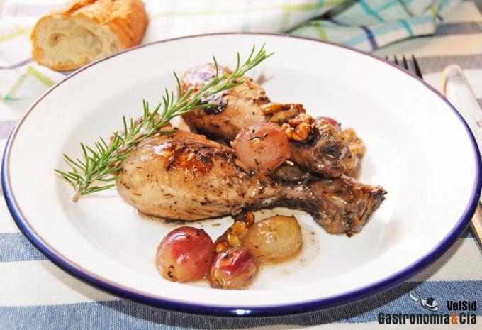 Pollo a la cazuela con uvas