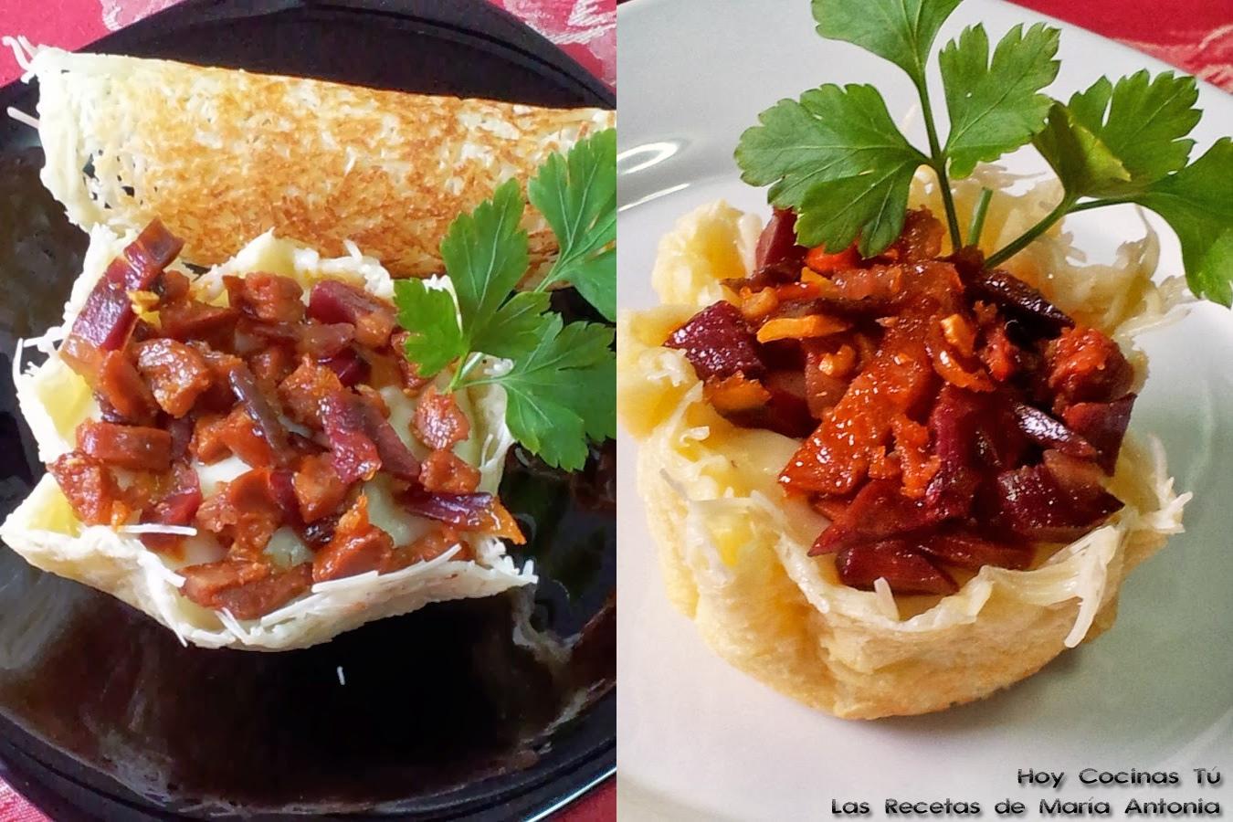 Hoy Cocinas Tú: Cestas de parmesano con puré de patata, jamón y chorizo crujiente