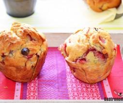 Receta de muffins de chocolate y fresas