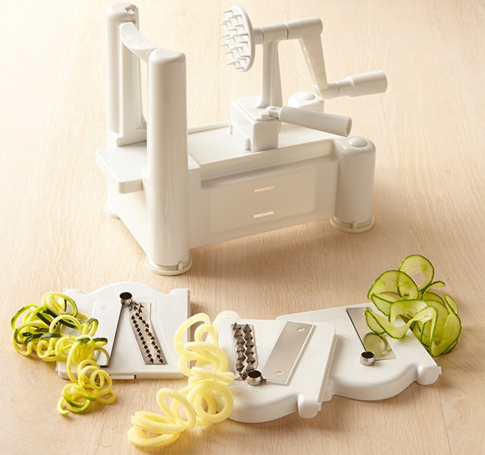 The Paderno World Cuisine 6-Blade Spiralizer with Brush creates spiral cuts and vegetable or fruit noodles in seconds. The frame and blade plates are constructed of very high-quality, impact-resistant ABS plastic that is BPA-free, and the blades are made of stainless steel.