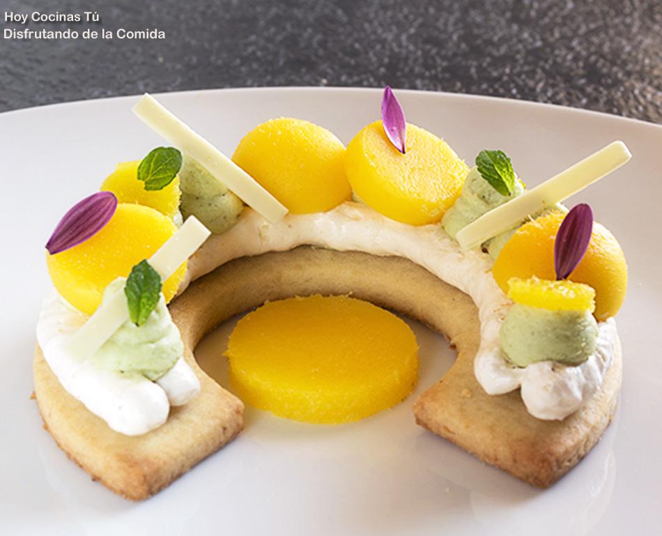 Hoy Cocinas Tú: Sablé, merengue, mango y crema montada de chocolate blanco y pistacho