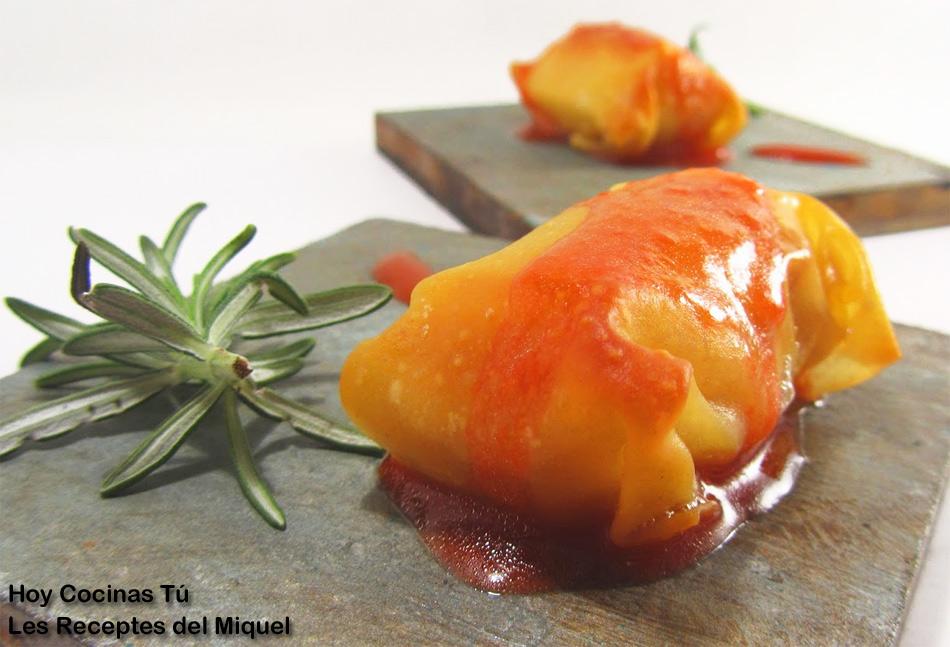 Hoy Cocinas Tú: Paquetitos de queso brie y nueces con vinagreta de fresa