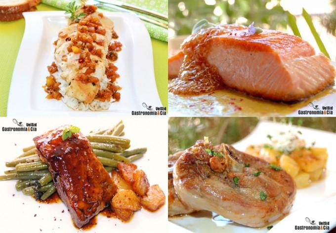 Pescado y carne con piña