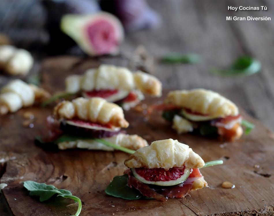 Hoy Cocinas Tú: Mini Croissants rellenos de jamón, higos y rúcula