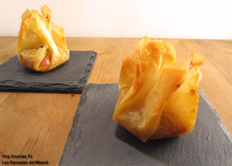 Hoy Cocinas Tú: Saquitos de pasta filo con escalibada y anchoas