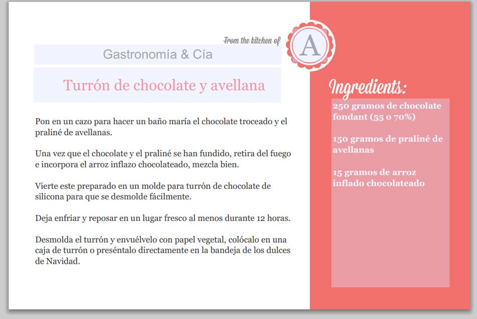 Plantillas para escribir e imprimir recetas gastronom a for Plantillas de cocina