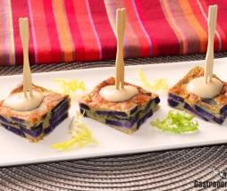 Patata violeta y cebolla confitada