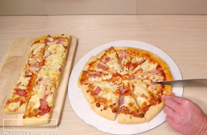Cortar una pizza para hacerla más pequeña