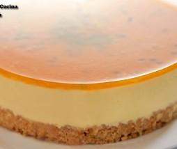 Tarta de queso y maracuyá