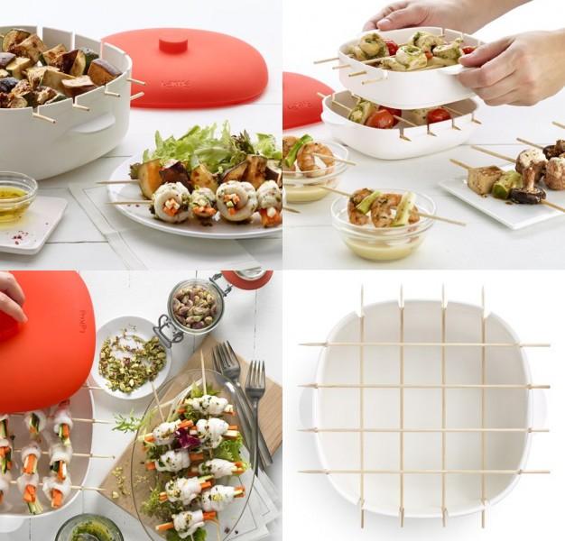 Pincho para hacer brochetas al vapor en el microondas gastronom a c a - Cocinar pescado en microondas ...