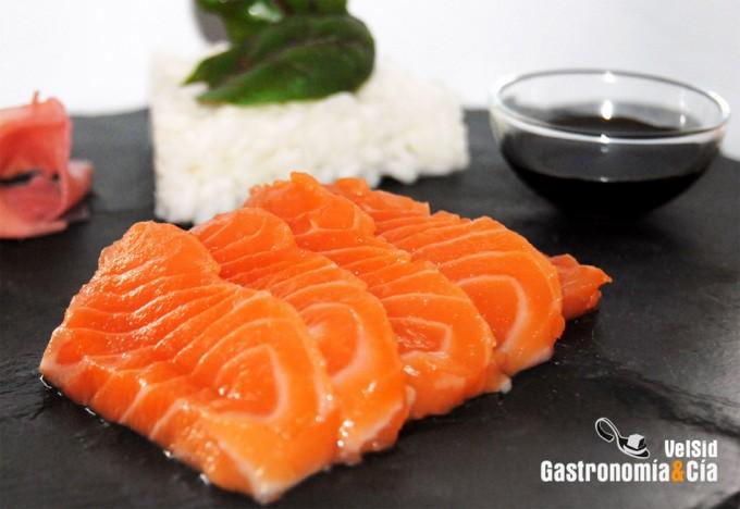 Consumo de salmón para sushi
