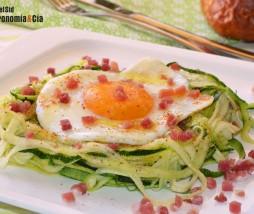 Calabacín, huevo y jamón
