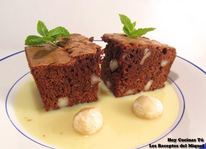 Brownie con nueces de macadamia