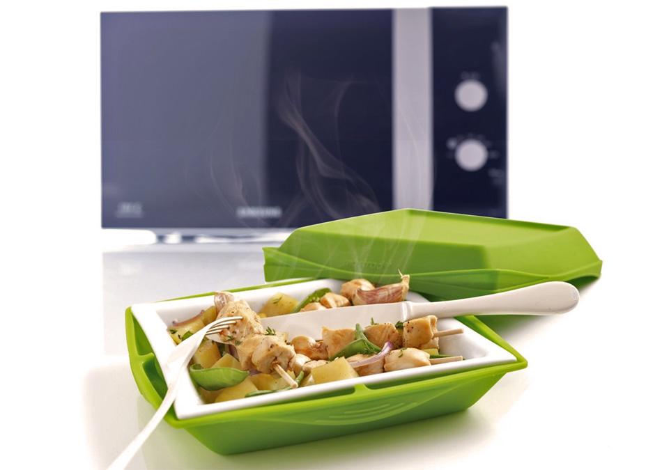 Plato de porcelana y silicona para cocinar en el microondas gastronom a c a - Silicona para microondas ...