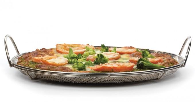 Molde para pizza en barbacoa