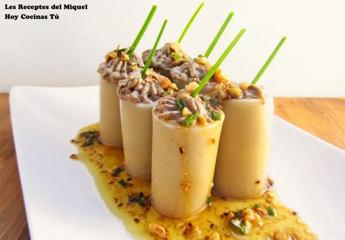 Paccheri rellenos de boletus y foie de Gastronomiaycia.republica.com