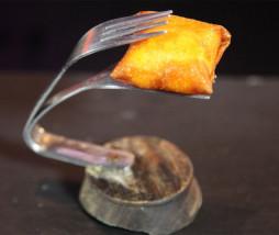 Pincho de huevo frito con patatas