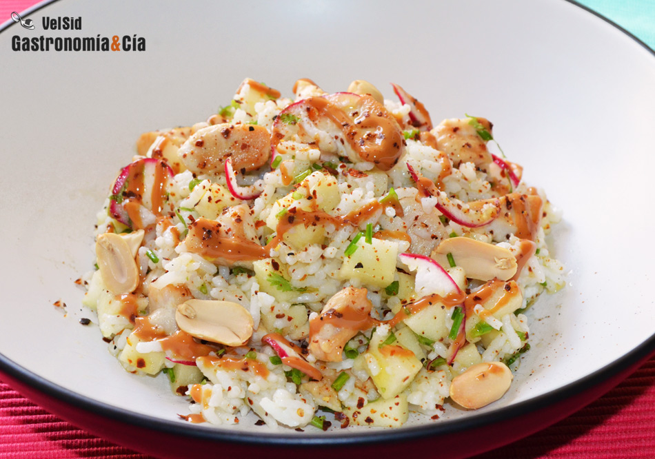 Ensalada de arroz con pollo manzana y cacahuete - Ensalada de arroz light ...