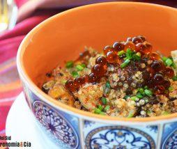 Quinua, setas, cebolla y soja