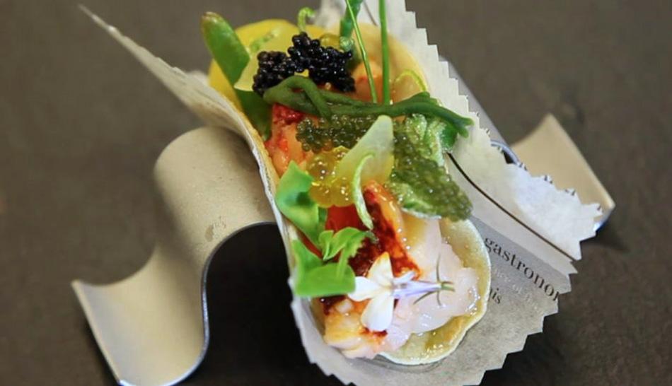 Taco de bogavante huerta y mar de Carme Ruscalleda