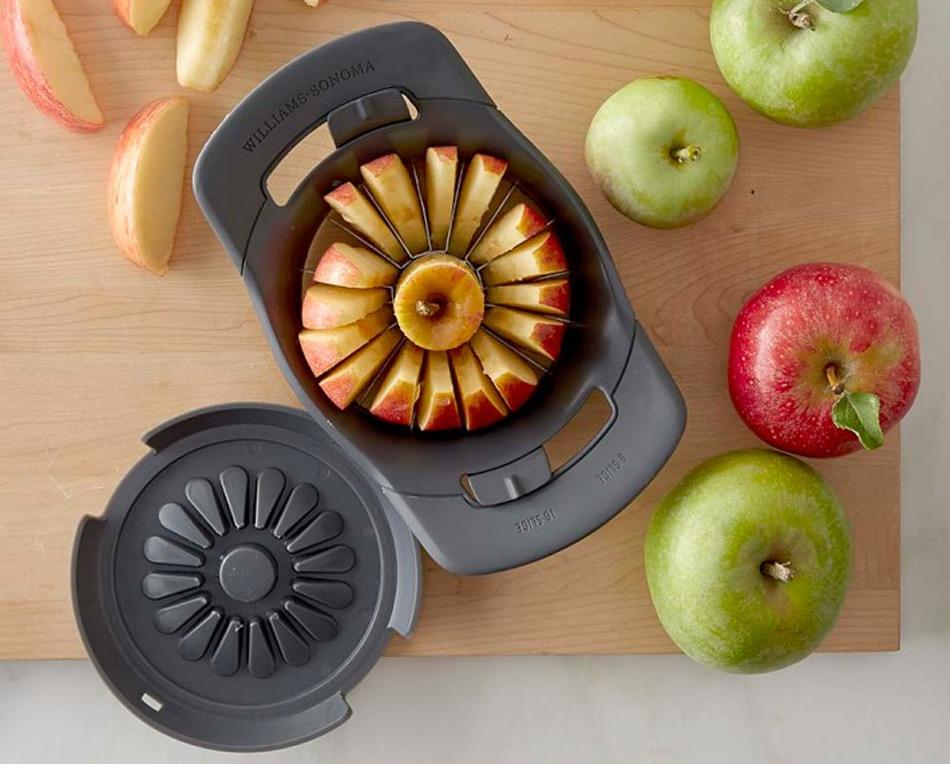 Cortador y descorazonador de manzanas ajustable en dos medidas