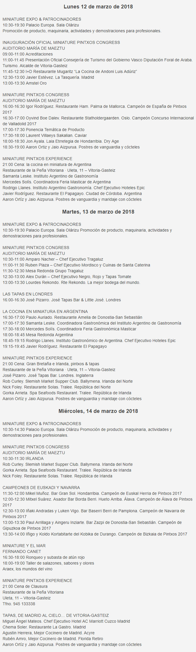 Congreso de Pinchos Miniature 2018