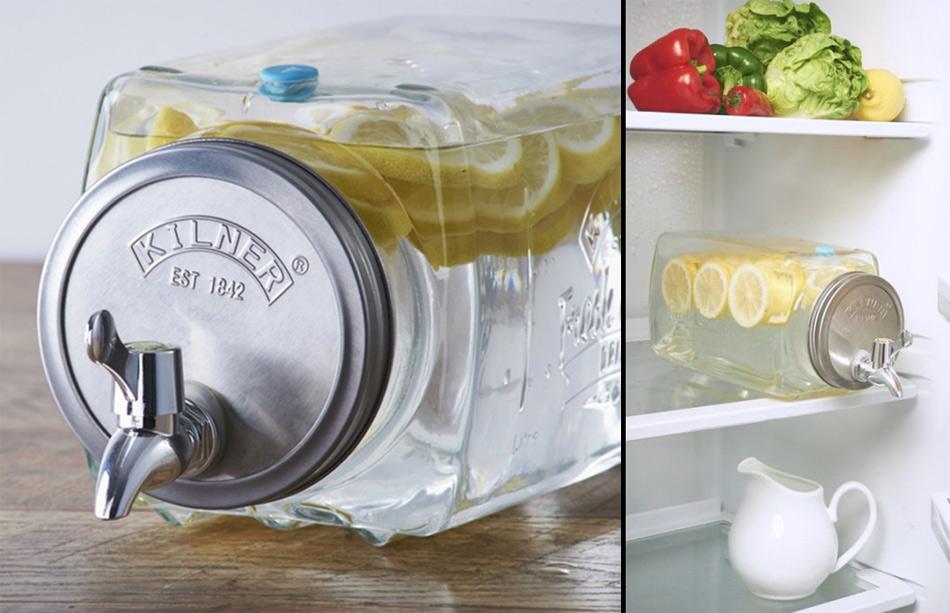 Dispensador de cristal con grifo para el frigor fico for Dispensador de latas para frigorifico