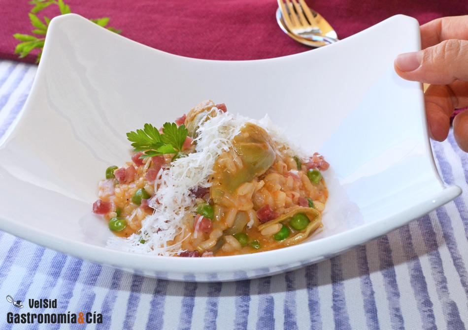 Risotto De Alcachofas Guisantes Y Jamón Gastronomía Cía