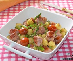 Receta de butifarra, patata y espárragos