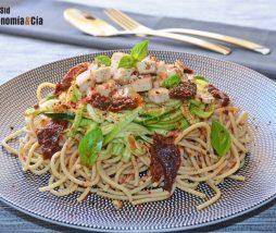 Receta de garbanzos y espaguetis