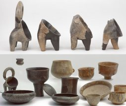 Vasijas, cuencos y vasos que contenían restos de productos lácteos fermentados