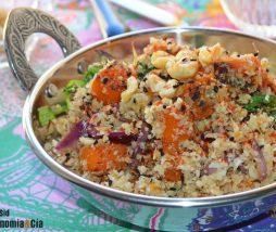 Receta vegetariana con coliflor y calabaza