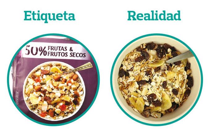 Fotografías de productos alimentarios que inducen a error