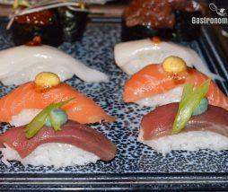 Nigiris de atún, salmón y pez mantequilla