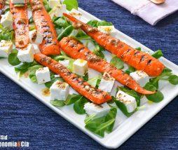 Zanahorias, requesón y vinagreta de semillas