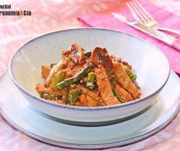 Champiñones, pimientos, espárragos y proteína vegetal