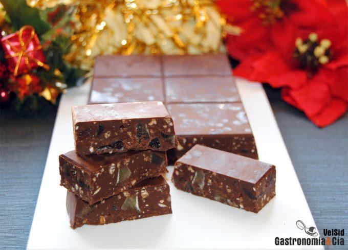Turrón casero de chocolate