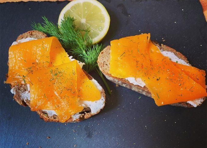 Alternativa vegetal al salmón ahumado