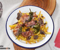 Receta de carne con patatas, pimientos y trufa negra